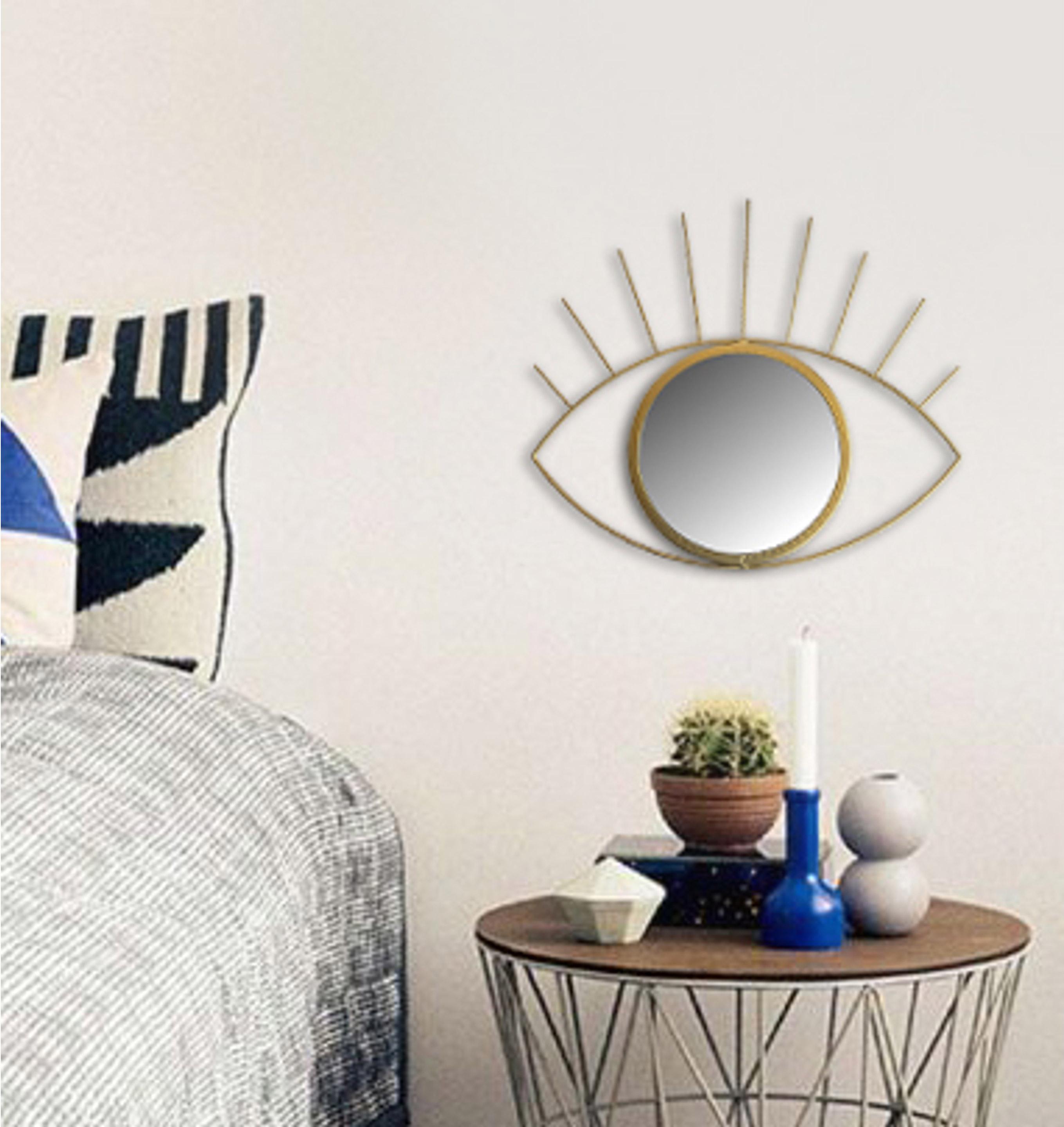 Miroir ovale Oeil, dorée, 36 x 31cm