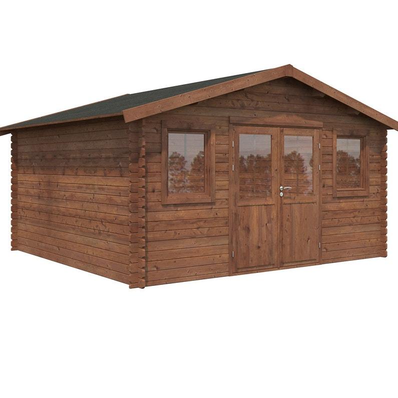 Abri de jardin bois NATERIAL Kendo évolution+ traité autoclave Ep.34 mm,  16.3 m²
