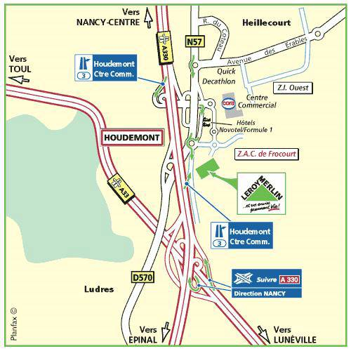 Plan d'accès au magasin Leroy Merlin de Forbach