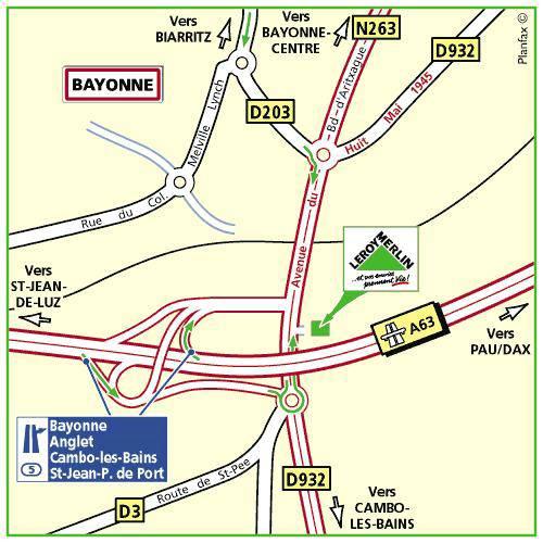 Plan d'accès au magasin Leroy Merlin de Bordeaux mérignac