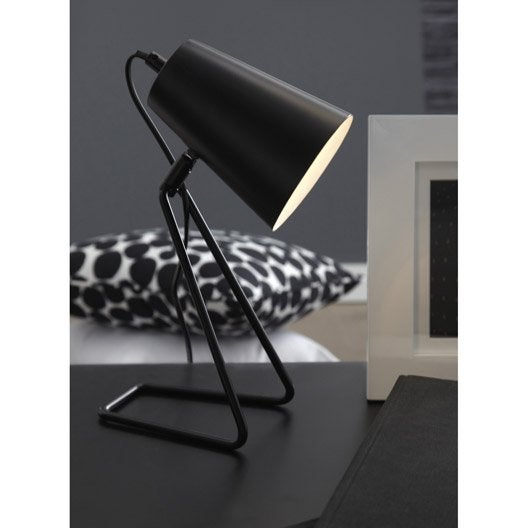 lampe e14 moeta inspire m tal noir 40 w leroy merlin. Black Bedroom Furniture Sets. Home Design Ideas