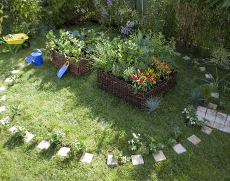 Réaliser des potagers dans des carrés en osier