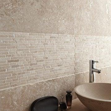 Travertin sol et mur beige effet pierre Travertin l.40.6 x L.61 cm