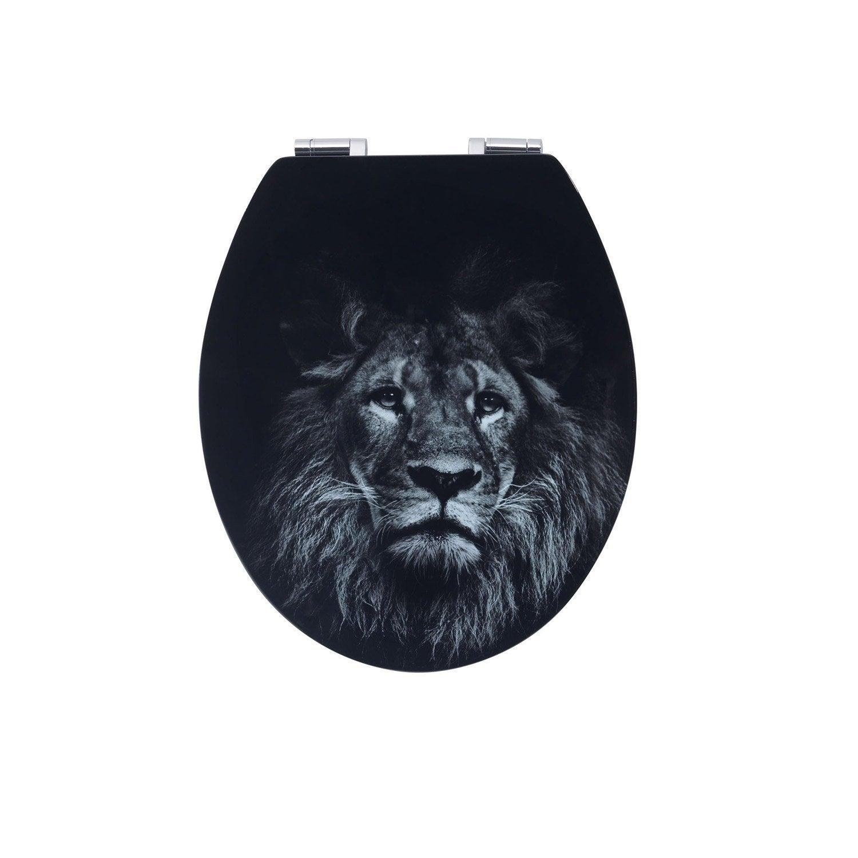 abattant frein de chute d clipsable noir bois compress lion leroy merlin. Black Bedroom Furniture Sets. Home Design Ideas