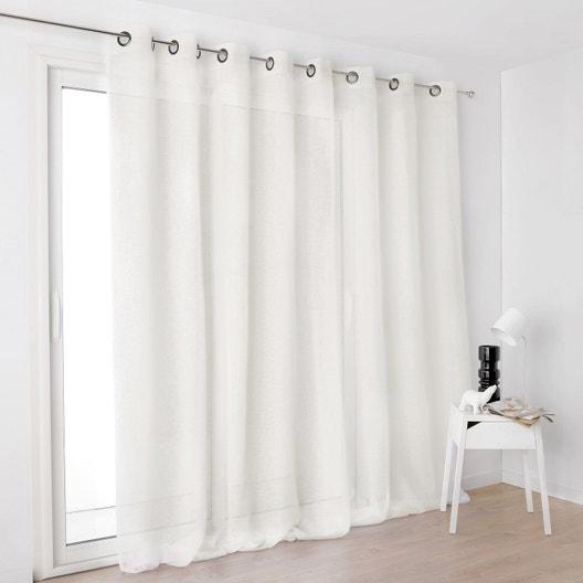 voilage tamisant grande largeur kaolin blanc cru x cm leroy merlin. Black Bedroom Furniture Sets. Home Design Ideas