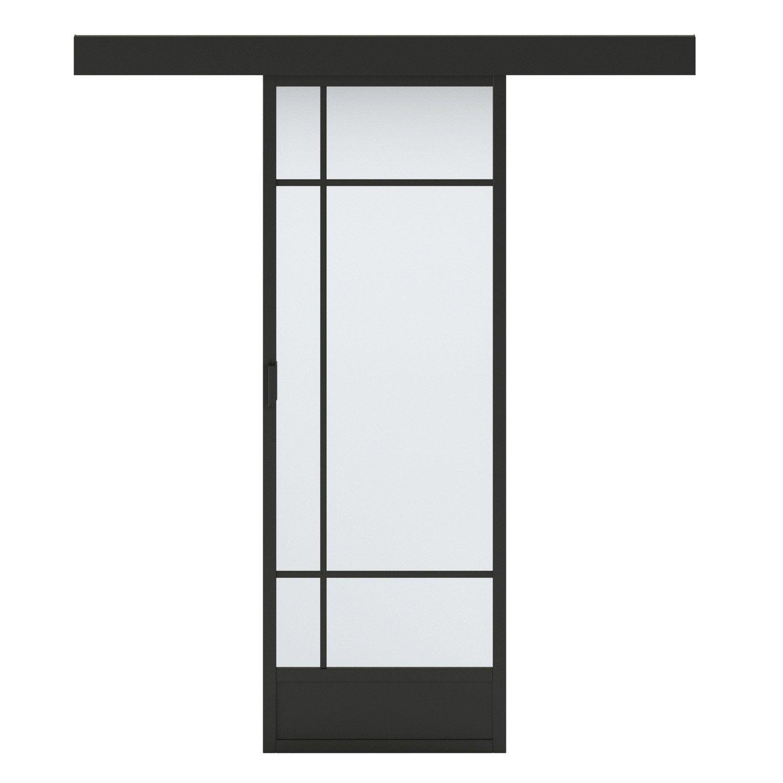 porte coulissante vitr e noir emma artens x cm leroy merlin. Black Bedroom Furniture Sets. Home Design Ideas