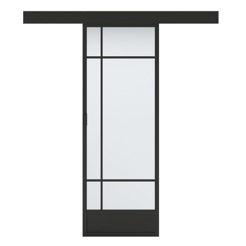 Porte Coulissante Vitrée Noir Emma Artens H204 X L73 Cm Leroy