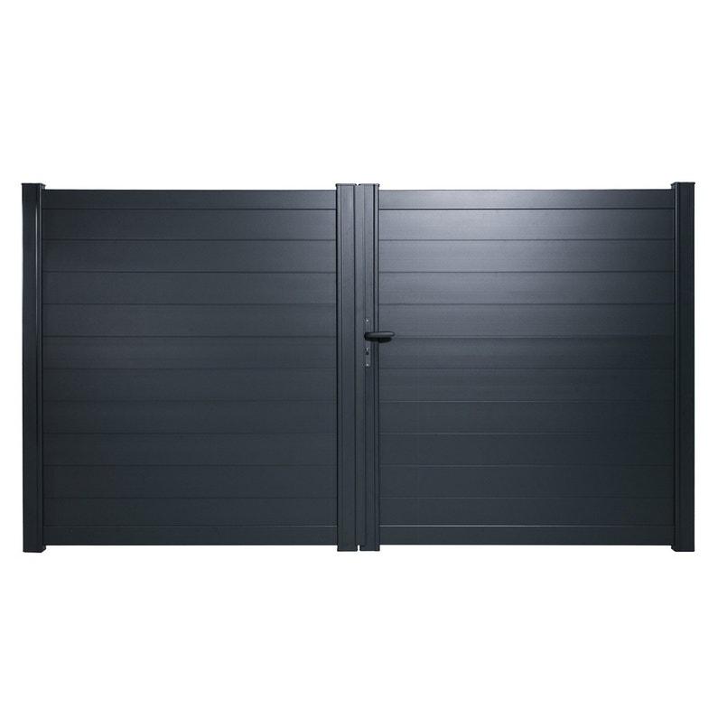 Portail Battant Aluminium Lao Gris Zingué Naterial L300x H170 Cm
