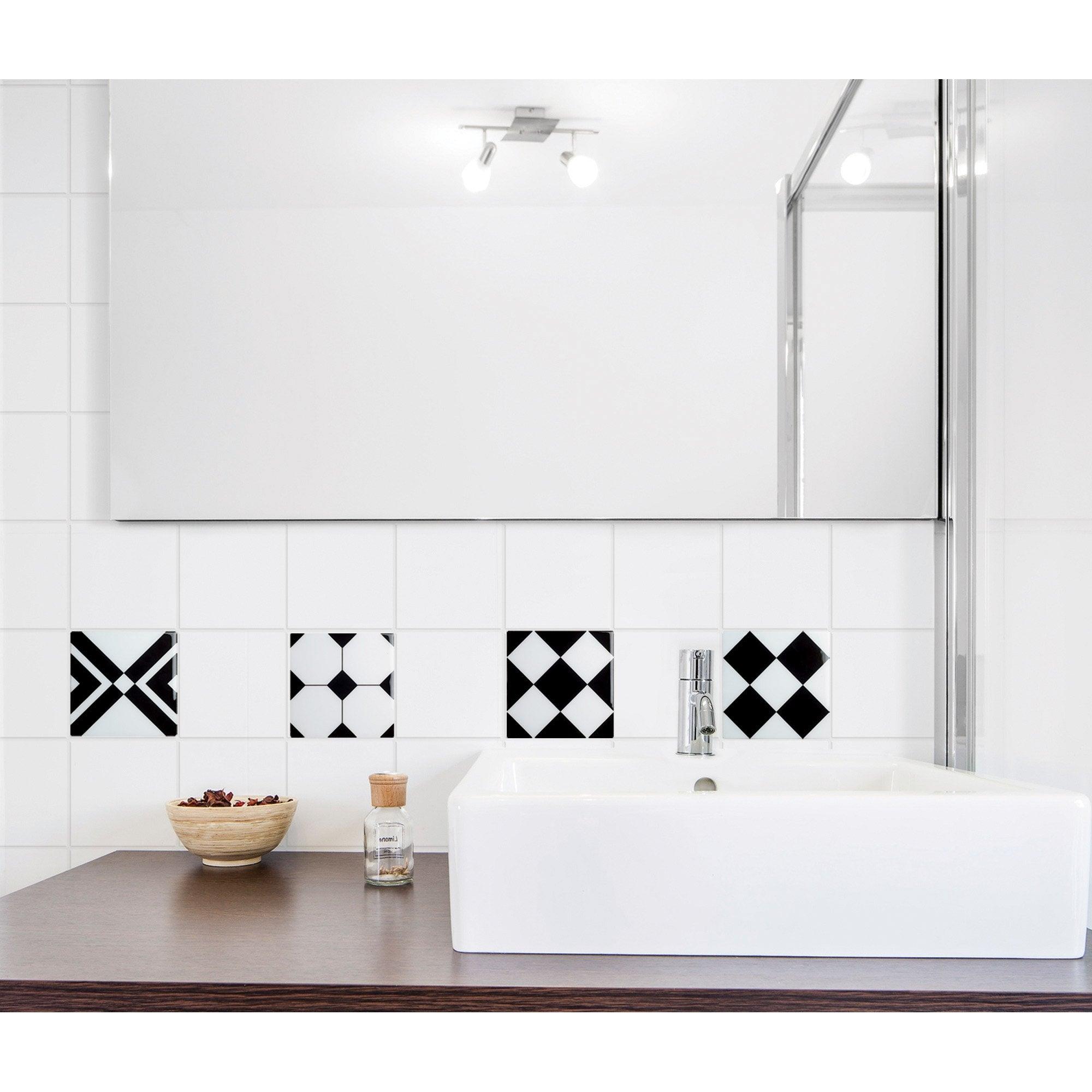 Stickers adhésifs Carrelage relief agliana, noir et blanc l.0.15 x L.0.15 m
