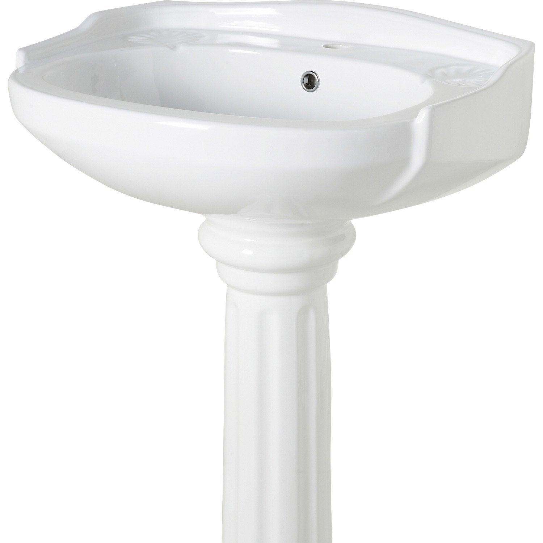 Lavabo pour colonne en céramique, blanc Retro
