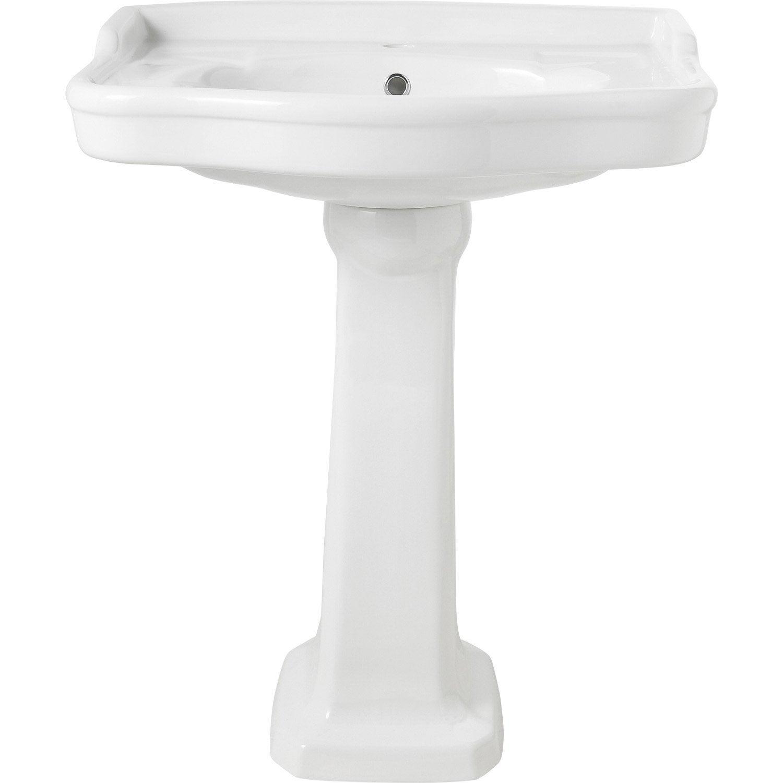 Lavabo pour colonne en céramique, blanc Victoria