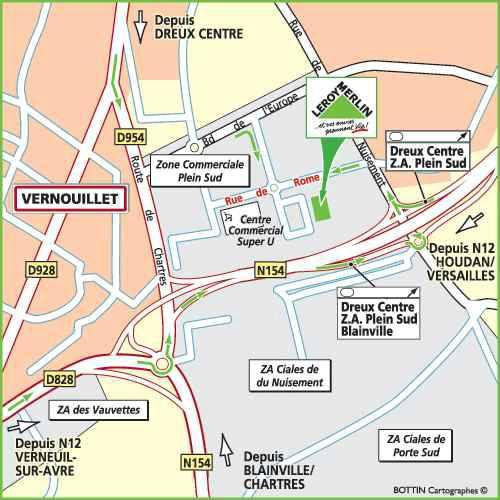 Plan d'accès au magasin Leroy Merlin de Rueil malmaison