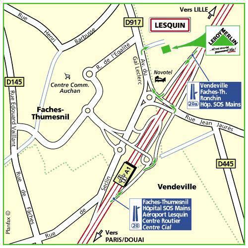 Plan d'accès au magasin Leroy Merlin de Lens (vendin-le-vieil)