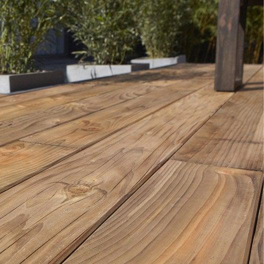 Planche bois douglas nat rial marron x cm x mm leroy merlin - Lame de terrasse en composite leroy merlin ...