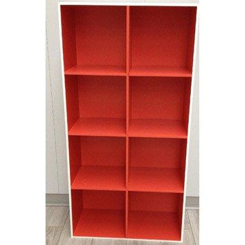Etagère 8 cases Multikaz rouge L32.9 x H138.2 cm