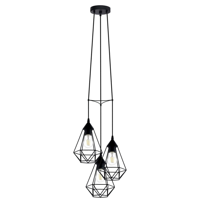 Suspension e27 style industriel byron d17 5 m tal noir 3 for Suspension 3 lampes industriel