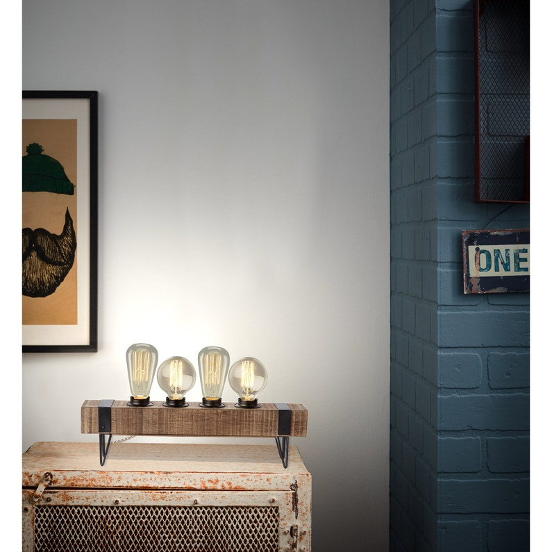 Lampe Industriel Metal Noir Brilliant Woodhill Leroy Merlin