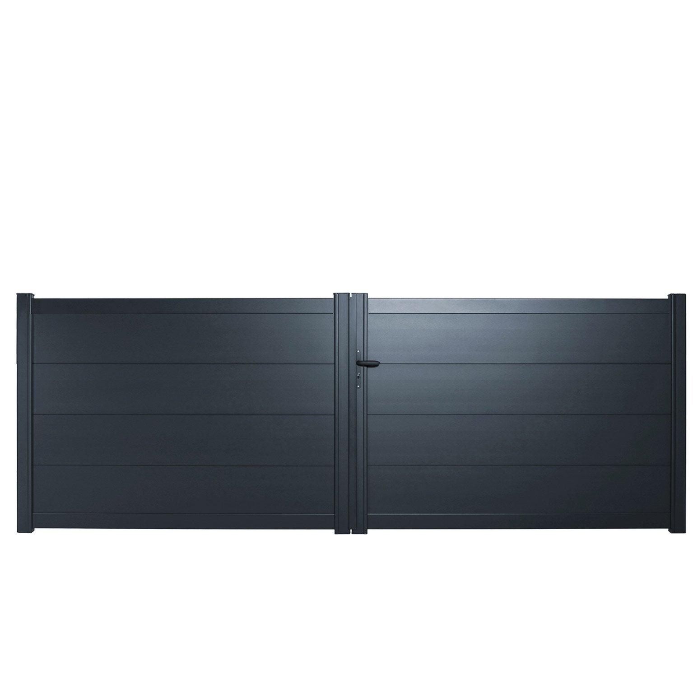 portail battant aluminium hezo gris zinc naterial l399 x