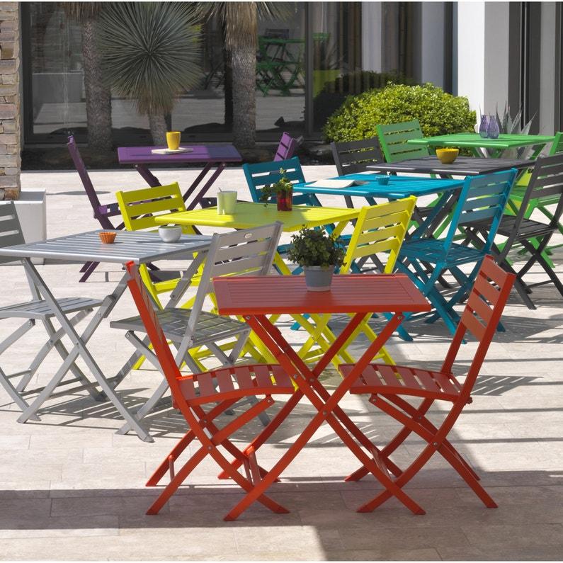 Table de jardin de repas Marius carrée rouge carmin 2 personnes
