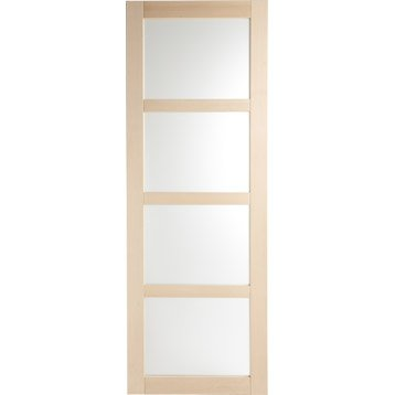 Porte coulissante hêtre plaquée hêtre Nova vitrée ARTENS, H.204 x l.73 cm