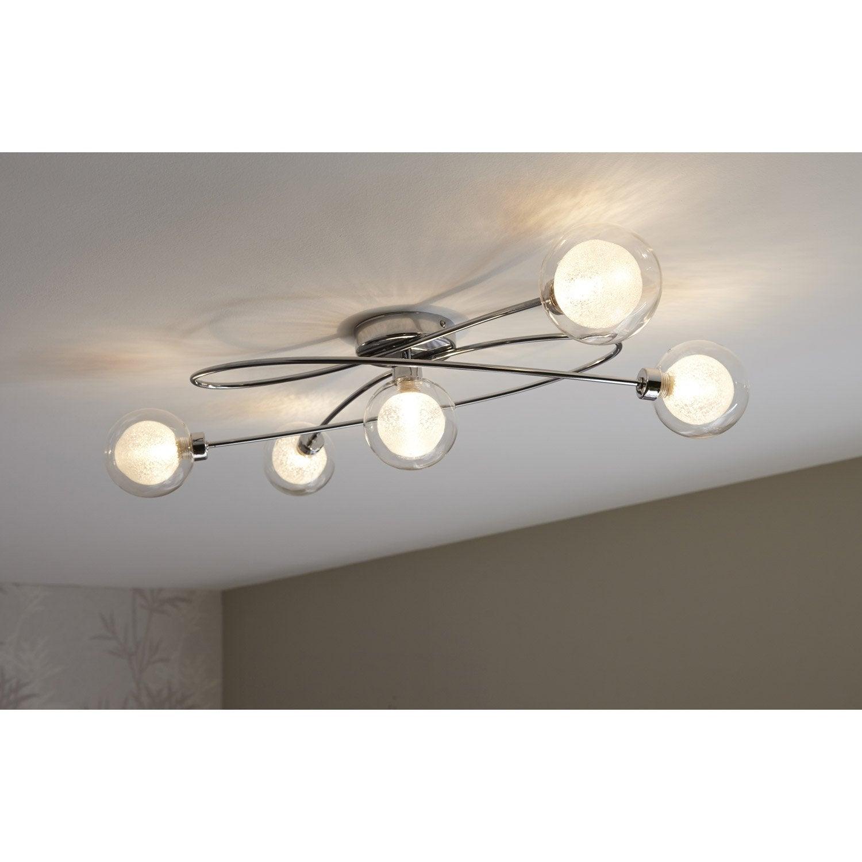 plafonnier g9 rosarno eglo chrome 33 w leroy merlin. Black Bedroom Furniture Sets. Home Design Ideas