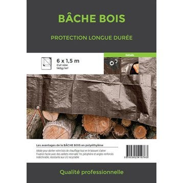 Bâche de protection en pe rectangulaire 600 x 150 cm marron