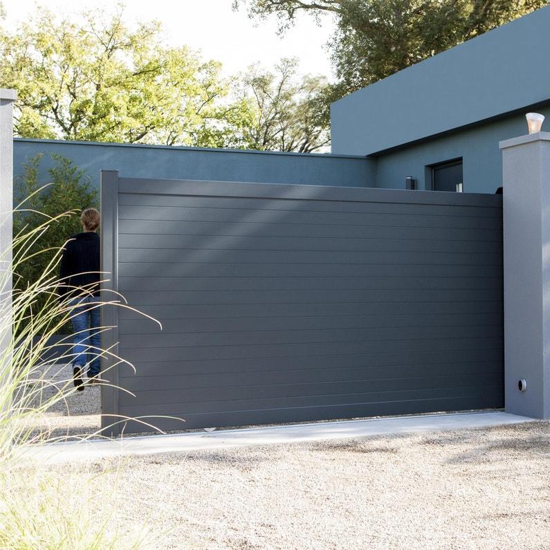 Portail Coulissant Aluminium Concarneau Gris Zinc Naterial L 362 X H 153 Cm Leroy Merlin