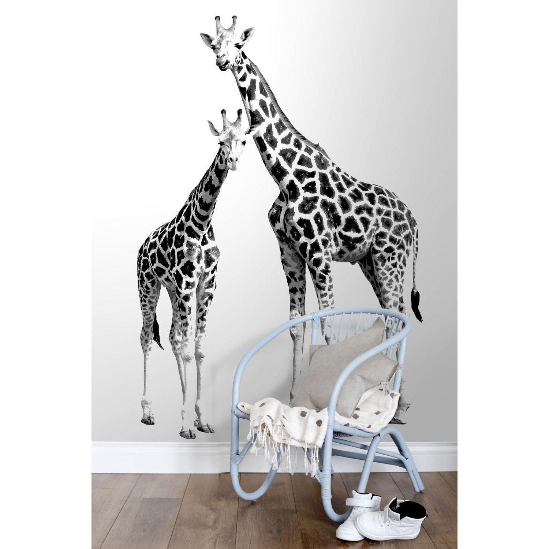 Papier peint Xl² girafes noir/blanc intissé l.139 x H.280 cm