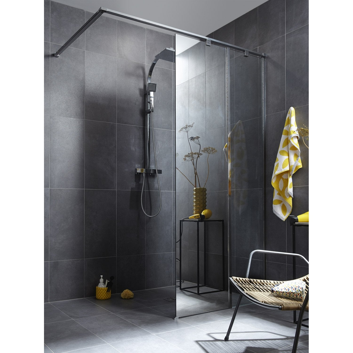 paroi de douche l 39 italienne cm verre miroir 8 mm eliseo leroy merlin. Black Bedroom Furniture Sets. Home Design Ideas