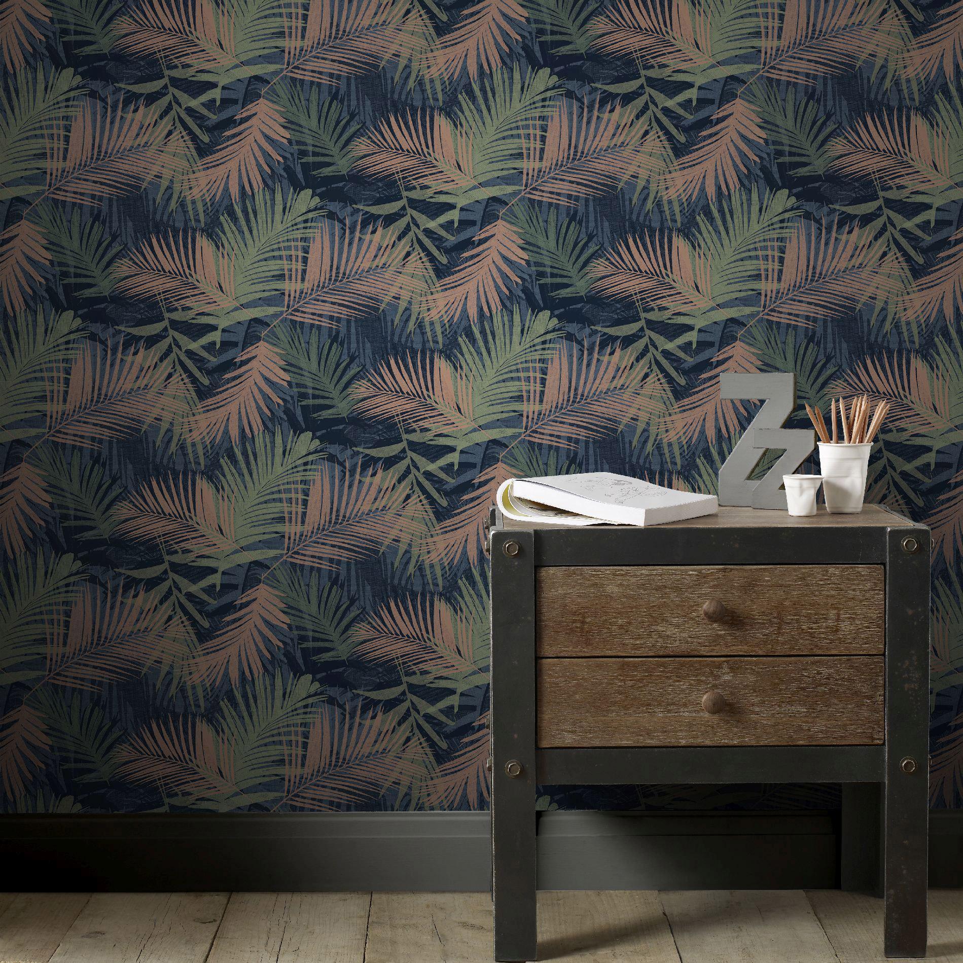 Papier peint vinyle Tropical Feuillage bleu/vert/noir