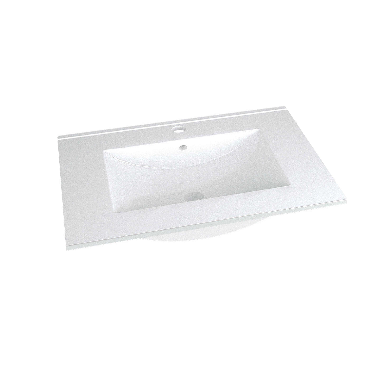 Plan vasque simple Clik Céramique blanc