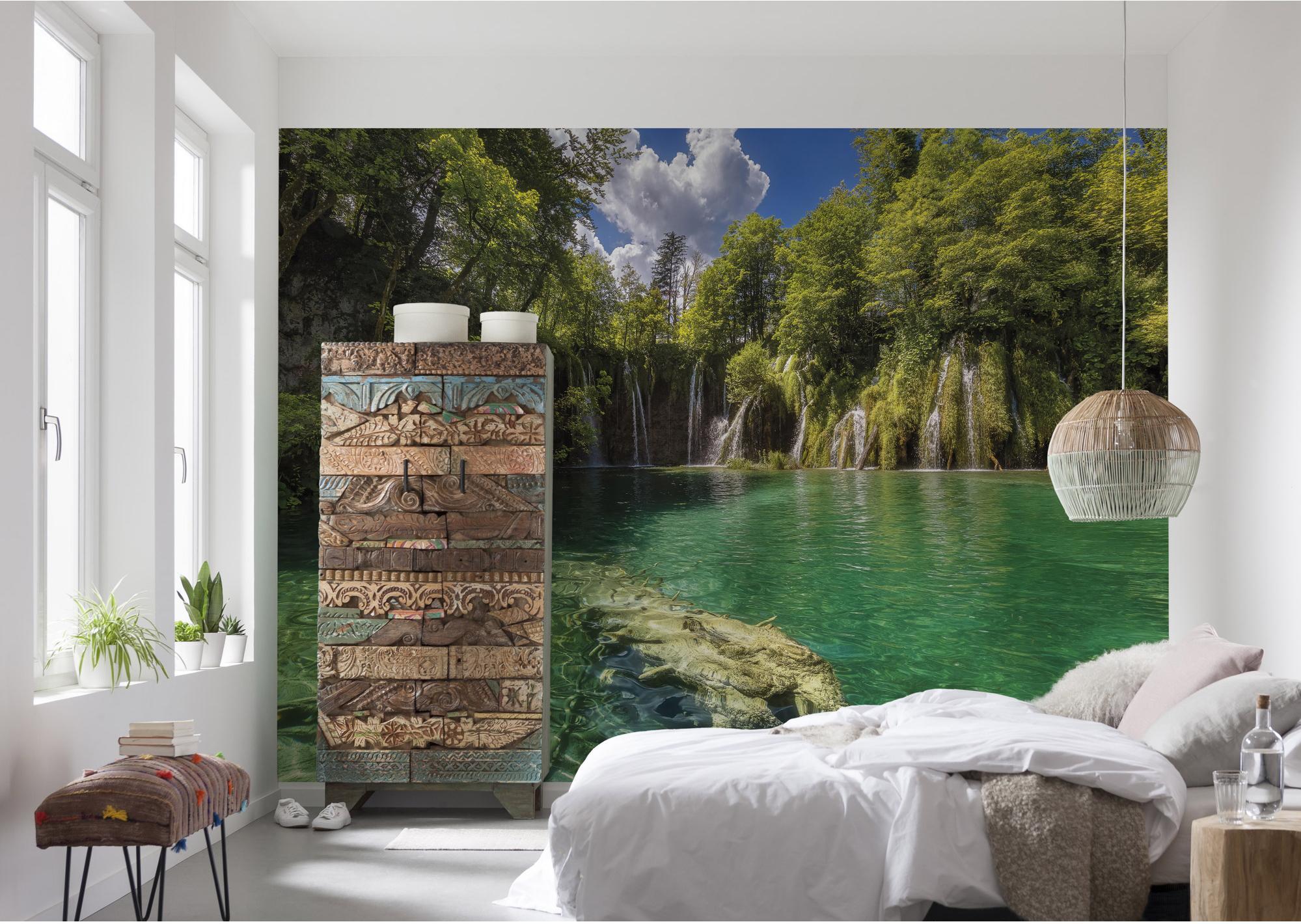 Papier peint panoramique Edenfalls vert papier KOMAR l.368 x H.254 cm