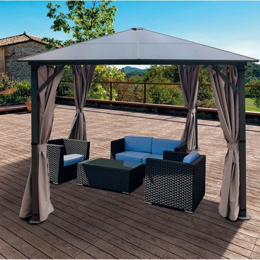 tonnelle autoportante polycarbonate aluminium gris 9 m leroy merlin. Black Bedroom Furniture Sets. Home Design Ideas