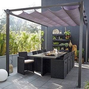 pergola retractable leroy merlin tonnelle clipperton toit. Black Bedroom Furniture Sets. Home Design Ideas