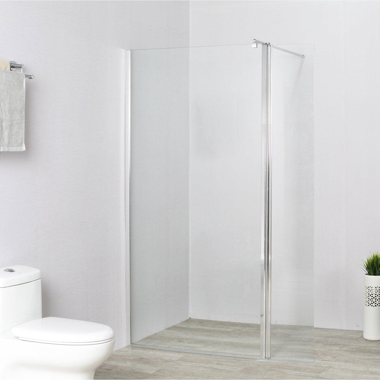 Paroi de douche à l'italienne, l.100 cm + l.40 cm verre transparent 8 mm Remix