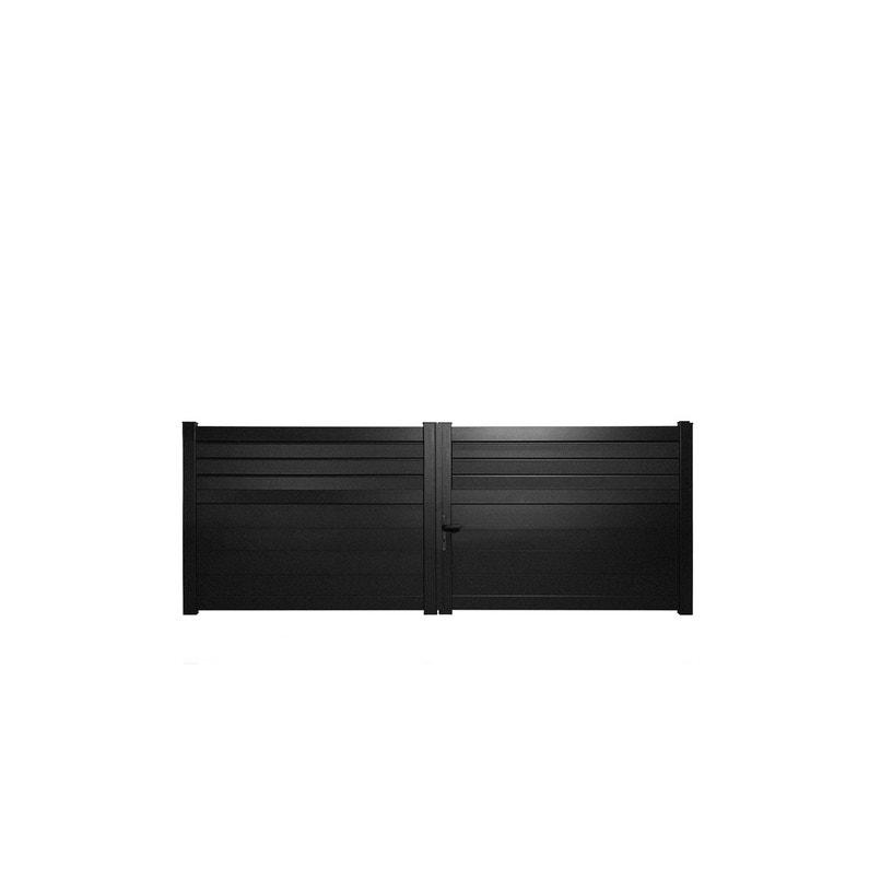 Portail Battant Aluminium Carnac Noir Naterial L 300 Cm Leroy Merlin