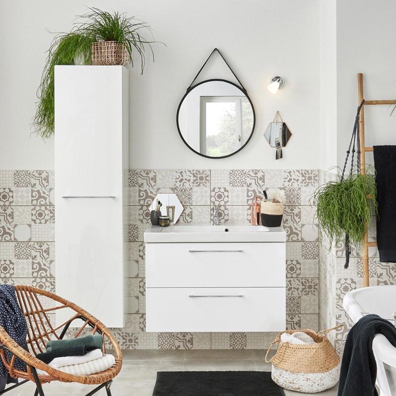 Meuble de salle de bains l.90 x H.58 x P.48 cm, blanc, Remix