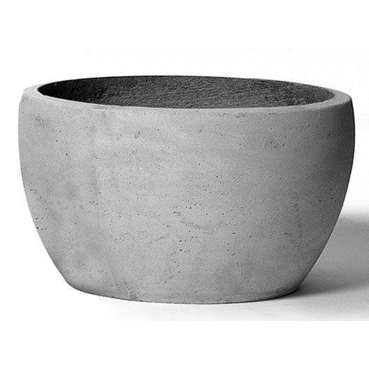 Pot fibre x cm gris ciment leroy merlin for Pot gris exterieur