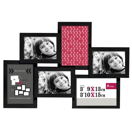 cadre multivue d troit 9 x 13 cm noir leroy merlin. Black Bedroom Furniture Sets. Home Design Ideas