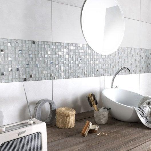 Fa ence mur gris clair life x cm leroy - Faience salle de bain gris et blanc ...