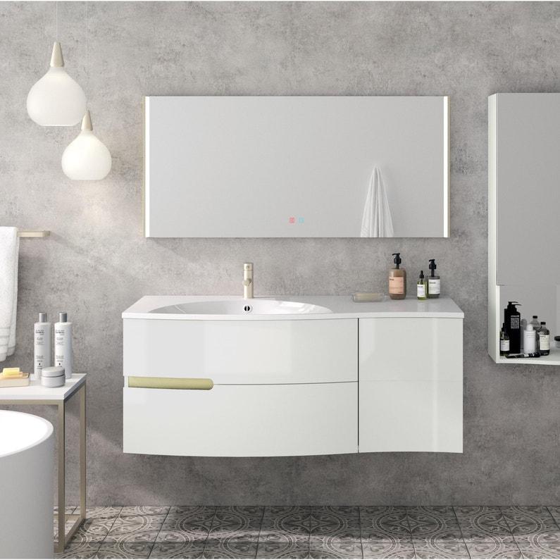 Meuble vasque, Egerie l.129.5 x H.52 x P.51 cm, blanc brillant, Egerie
