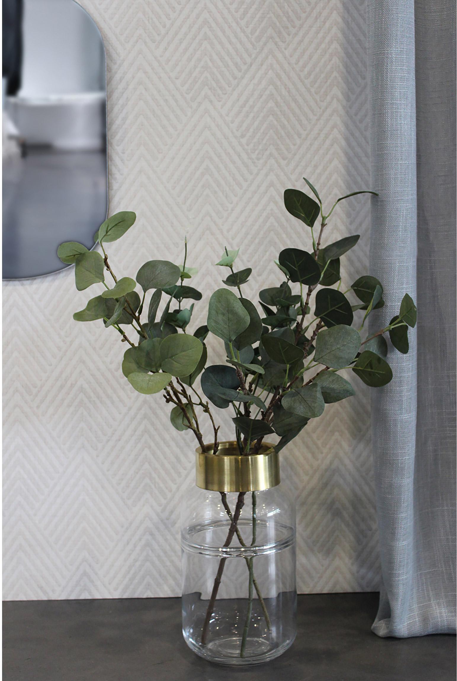 Vase décoratif verre Ness,transparent et doré, l.14 x H.25 cm