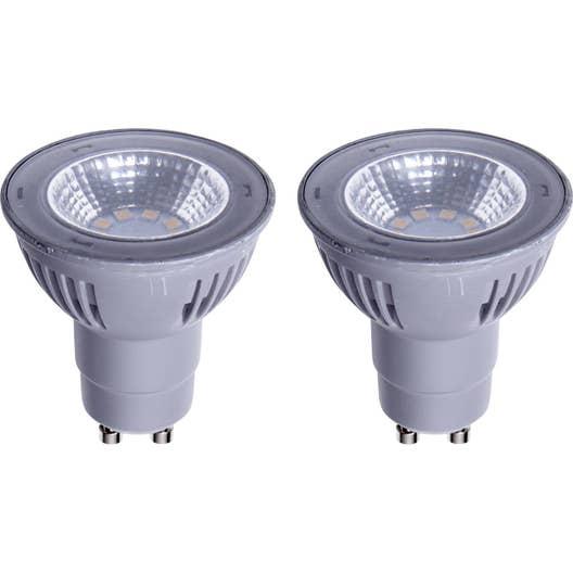 lot de 2 ampoules r flecteurs led 5w 450lm quiv 50w gu10 2700k 100 lexman leroy merlin. Black Bedroom Furniture Sets. Home Design Ideas