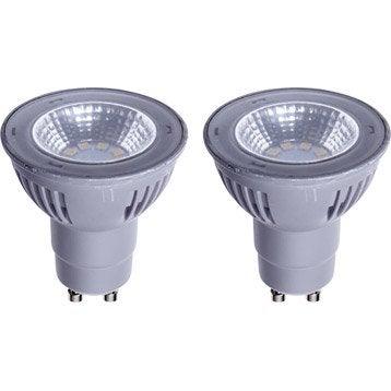 Lot de 2 ampoules réflecteurs LED 5W = 450Lm (équiv 50W) GU10 2700K 100° LEXMAN