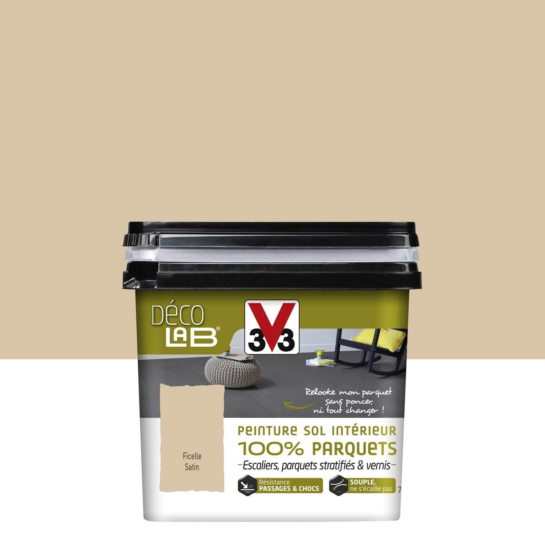 High Quality Peinture Sol Intérieur Decolab Sol 100% Parquet V33, Beige Ficelle, 0.75 L