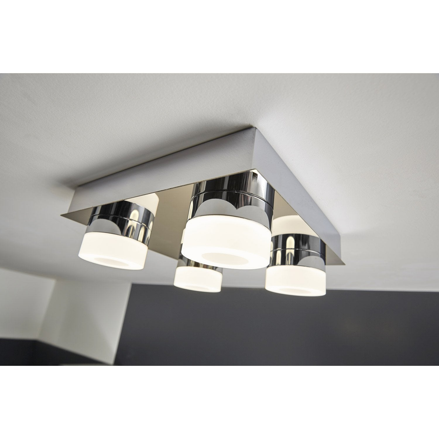 plafonnier icaria led 4 x 3 5 w led int gr e blanc froid leroy merlin. Black Bedroom Furniture Sets. Home Design Ideas