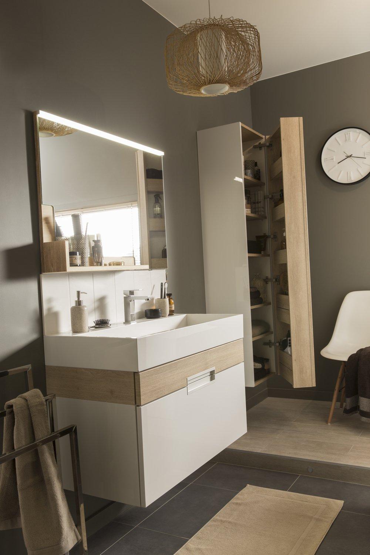 une salle de bains chic et nature leroy merlin. Black Bedroom Furniture Sets. Home Design Ideas