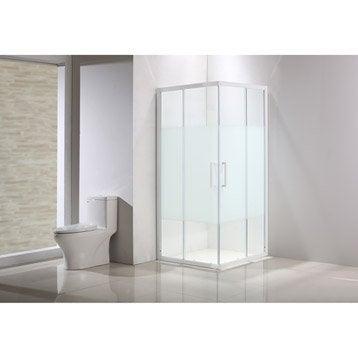 Porte de douche, angle carré, L.89 cm x l.89 cm, sérigraphié, Quad