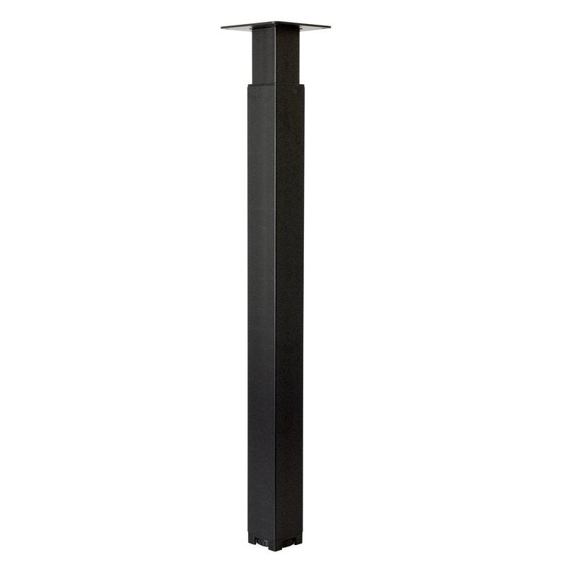Pied De Table Carre Reglable Acier Epoxy Noir 70 Cm Leroy Merlin