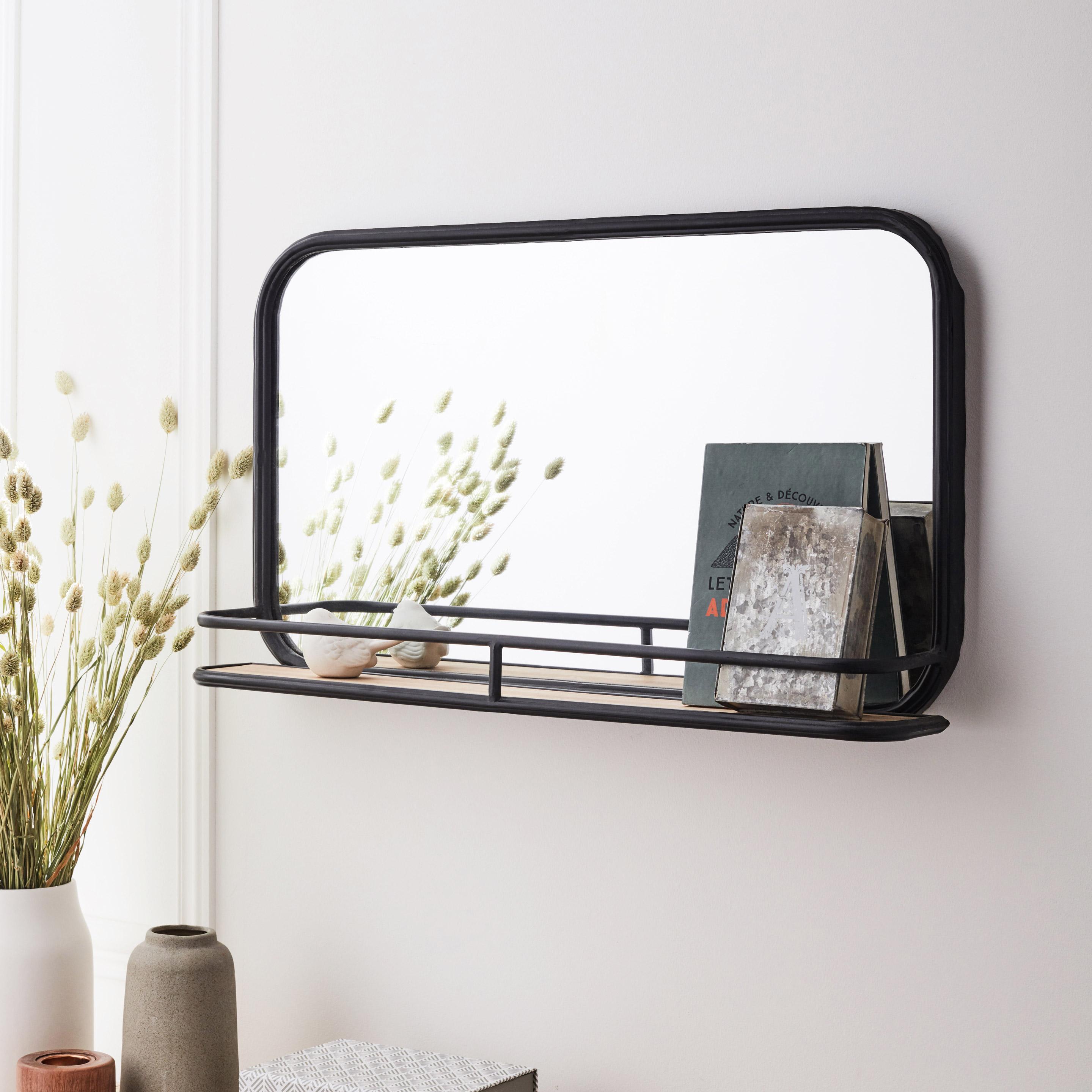 Miroir étagère noir Maya 40x40x10cm